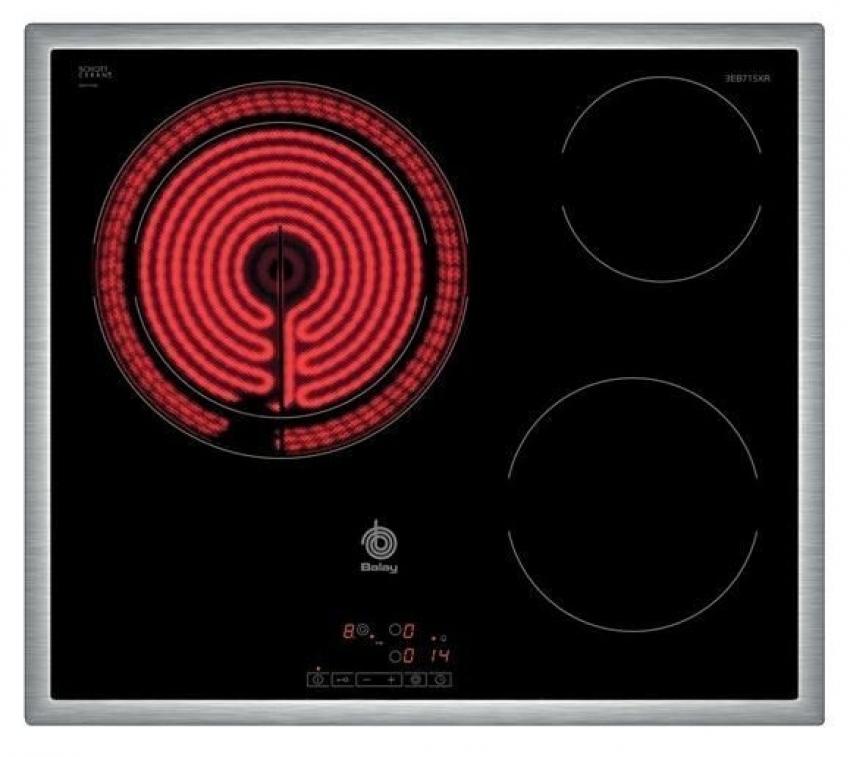ENCIMERA VITROCERAMICA BALAY 3EB715XR. 60 cm, 3, Marco inoxidabl e, 60 cm, control táctil de fácil uso, 3 zonas, zona de 28 cm, marco de acero inox.
