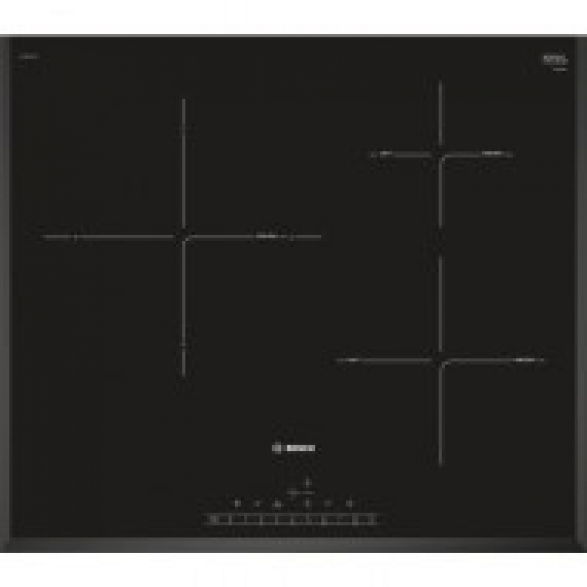 Vitroceramica induccion indep. Bosch PIJ651FC1E, Encimera, Encastrable, 60cm, 3 zonas, Color negro, Terminación biselada