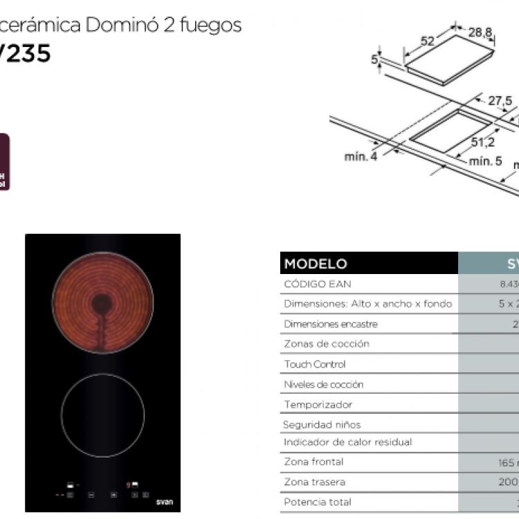 VITROCERAMICA DOMINO 2 FUEGOS SVV2351
