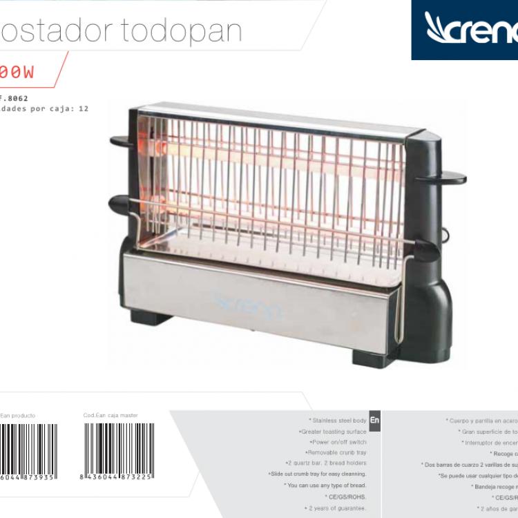 TOSTADOR CRENA VERTICAL TODOPAN 500W