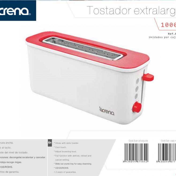 TOSTADOR CRENA EXTRA LARGO ROJO 1000W