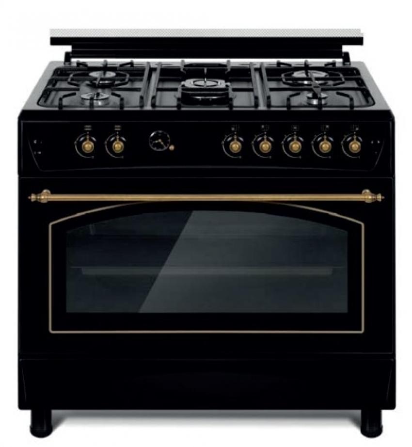 Cocina 5 fuegos 90x60cm gas negro atara for Cocinas 5 fuegos gas