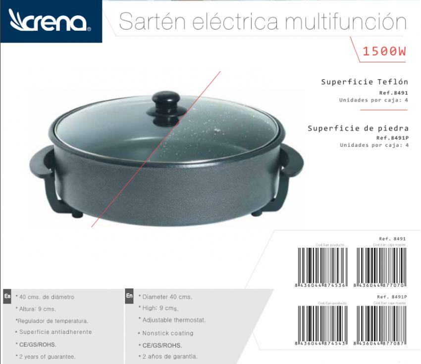 SARTEN ELECTRICA CRENA 40 / 42 CM. PIZZA PAN TEFLON 9 CM.