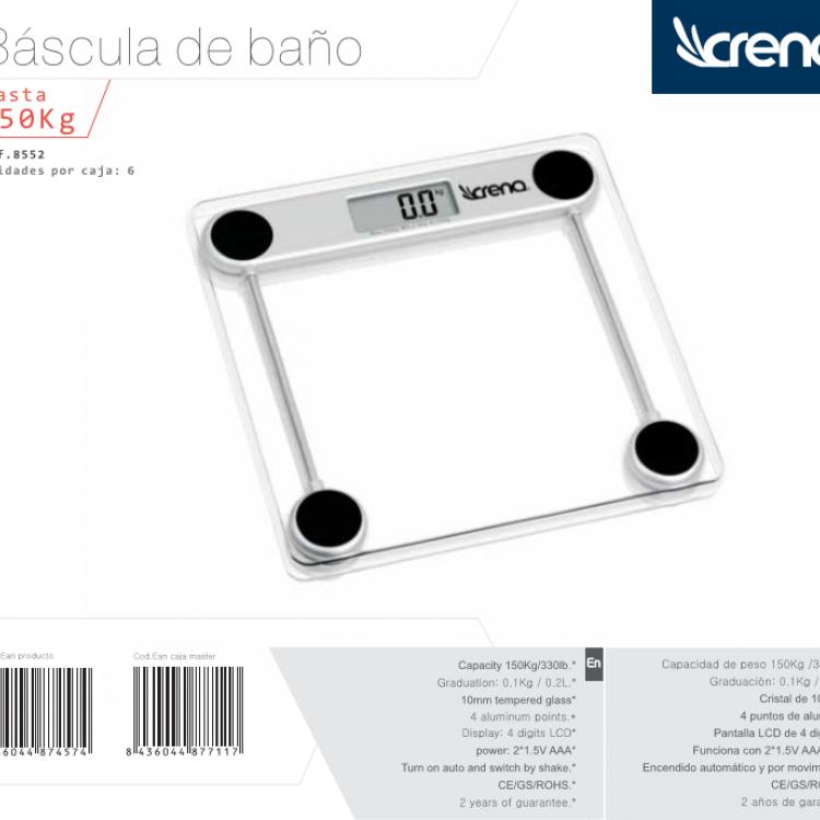 BASCULA BAÑO CRENA CRISTAL 150 KG.