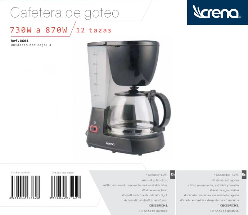 CAFETERA CRENA 12 TAZAS GOTEO 1,25 L. SIST. NUEVO