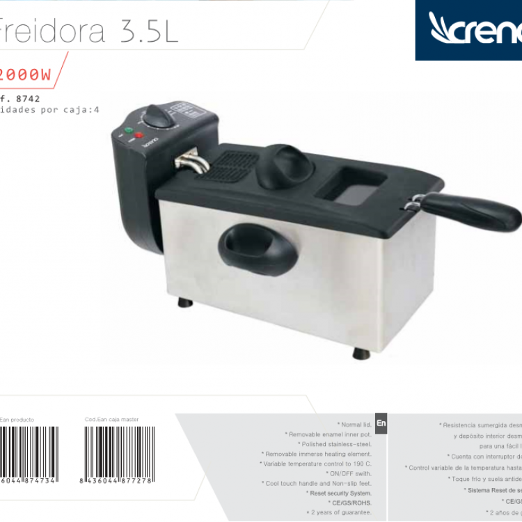 FREIDORA CRENA 3,5 L. ACERO INOX