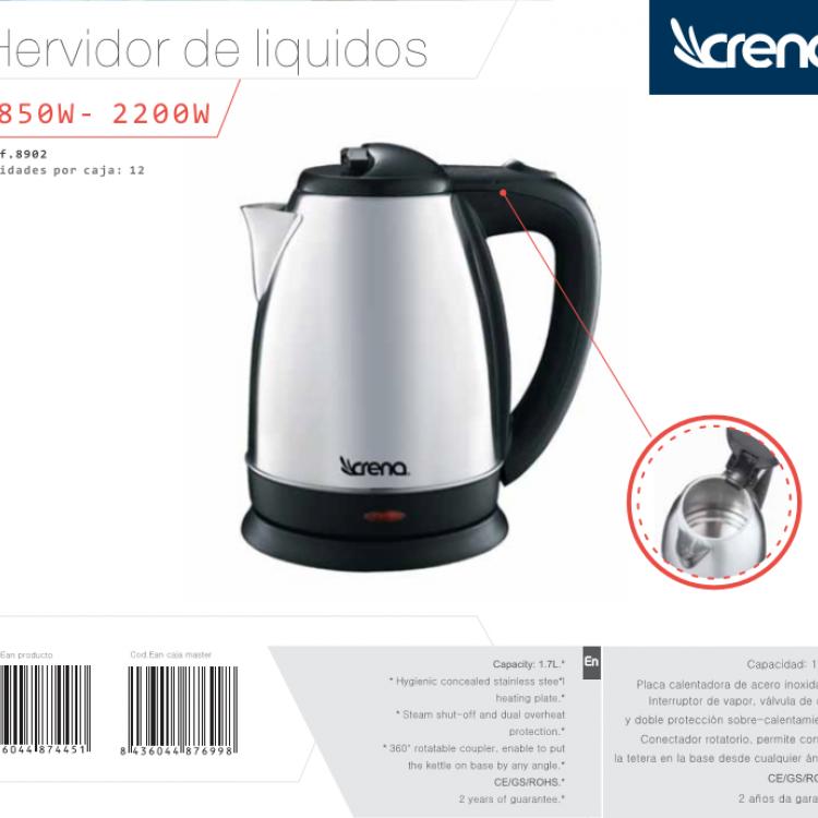 HERVIDOR DE AGUA CRENA 1,7 L. INOX 2200W