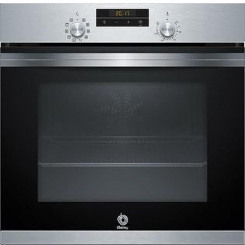 Horno Balay 3HB4331X0.Multifuncion 7  Acero inoxidable/Cristal Negro - Aqualisis  Alto: 60 cm - Apertura abatible con Rail Comfort