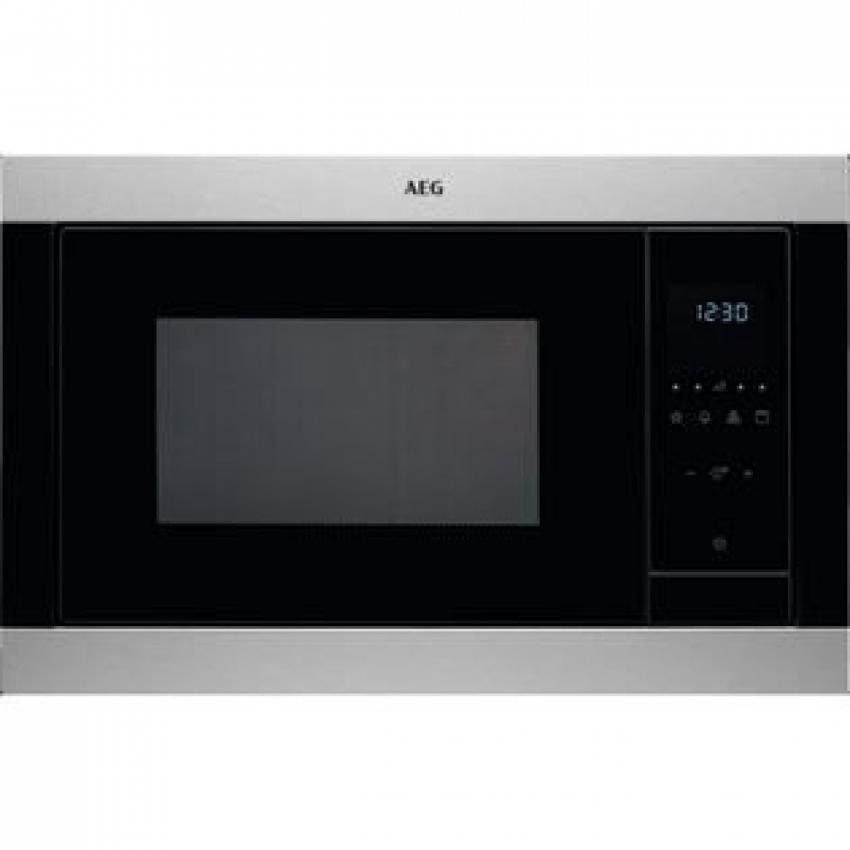 Microondas AEG MSB2547D-M . Microondas electronico con Grill Integrable - Mueble Columna INOX Antihuellas/Cristal negro - Apertura lateral izquierda - Capacidad: 25 litros