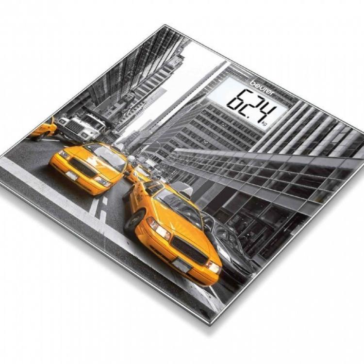 BASCULA BAÑO BEURER GS-203 NEW YORK.cristal pantalla LCD, Retroiluminacion diseño N YORK 150kg