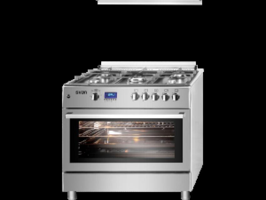 Cocina de 5 fuegos serie semi-pro inox modelo SVK9561FX de Svan con gas butano, rustidor de pollos, ignición automática y sistema de seguridad FFD.