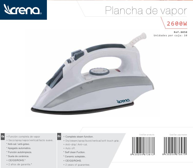 Plancha vapor crena aj2012 2600w atara - Electrodomesticos con tara sevilla ...