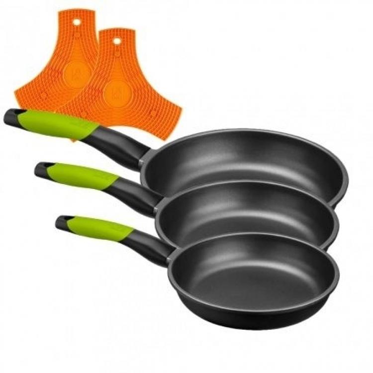 Sarten Bra A121460, LOTE SARTEN 18-22-26 PRIOR VERDE + 2 BRA SAFE
