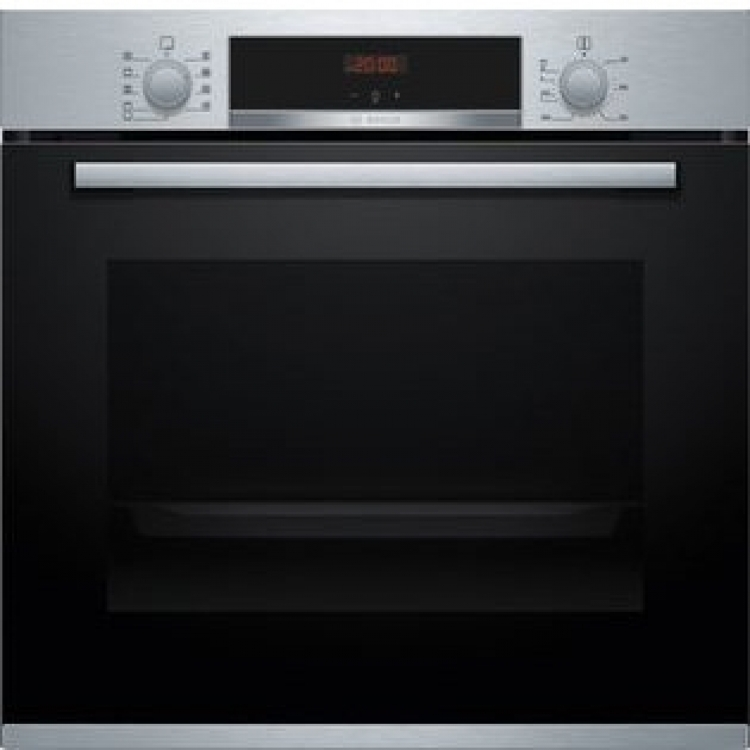 Horno Bosch HBA512BR0 Serie4 . Horno Multifuncion - 7 Acero INOX/Cristal Negro Gradas, Clip Opcional - Apertura abatible - Alto 60 cm