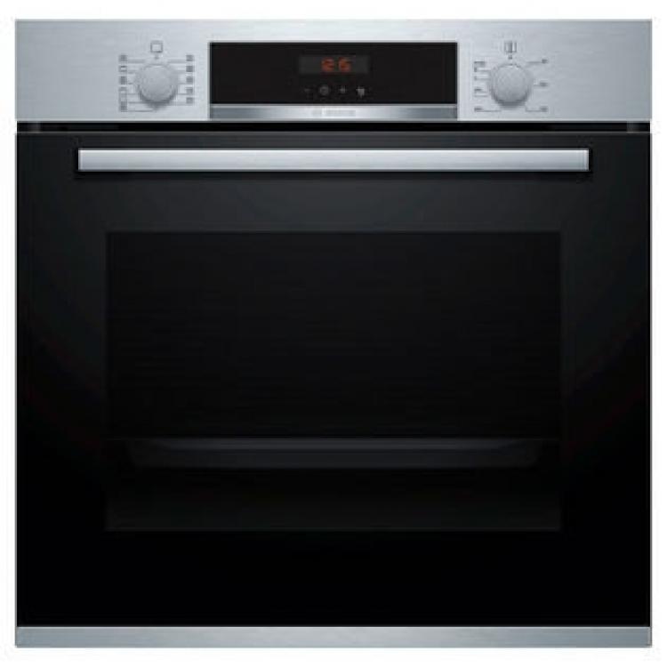 Horno Bosch HBA5740S0 Serie4. Horno Pirolítico Multifunción - 7  10 Recetas - Acero INOX/Cristal Negro  Clip Rails - Apertura abatible - Alto 60 cm