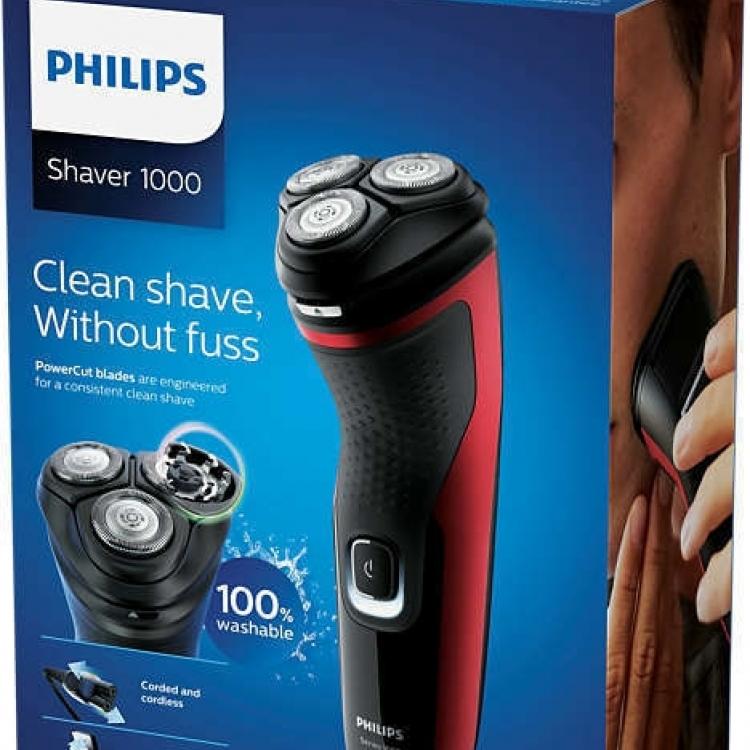 AFEITADORA PHILIPS S1333/41. Serie 1000, sistema cuchillas PowerCut Cabezales pivotantes 4 direcciones, facil limpieza (one touch open), 45min autonomia con 1h de carga, bateria nimh uso con y sin cable, con cortapatillas integrado