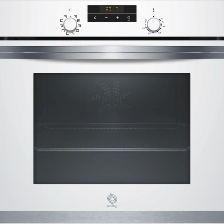 HORNO IND BALAY 3HB4331B0.Horno Multifunción (7), Encastrable, 60 cm., 71 l., Blanco, A, Ap. Abatible, Aqualisis, Panel trasero autolimpiante, Control Comfort, Reloj el ectrónico con programación de inicio y paro, Raíles 1 nivel, Mandos ocultables.