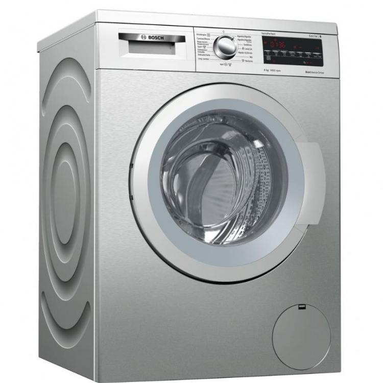 LAVADORA 8KG BOSCH WUQ2848XES.Carga frontal, A+++-30%, Libre instalación, 60 cm, 8 kg, 1.400 r/min, Acero inoxidable antihuellas, Motor EcoSilence, Display LED, VarioPerfect, instalación bajo encimera en mueble de altura min. 82 cm. Pausa+Ca rga